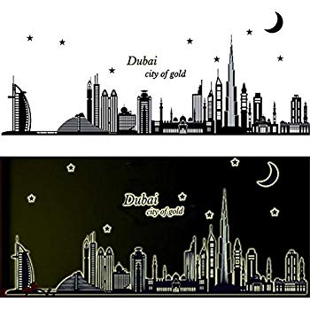 Clipart bedroom in city at night graphic royalty free library BIBITIME Glow in The Dark Wall Decals Dubai City of Gold Moon Star Night  Luminous Stickers Home Kid Room Decor for Baby Bedroom Nursery Noctilucent  ... graphic royalty free library