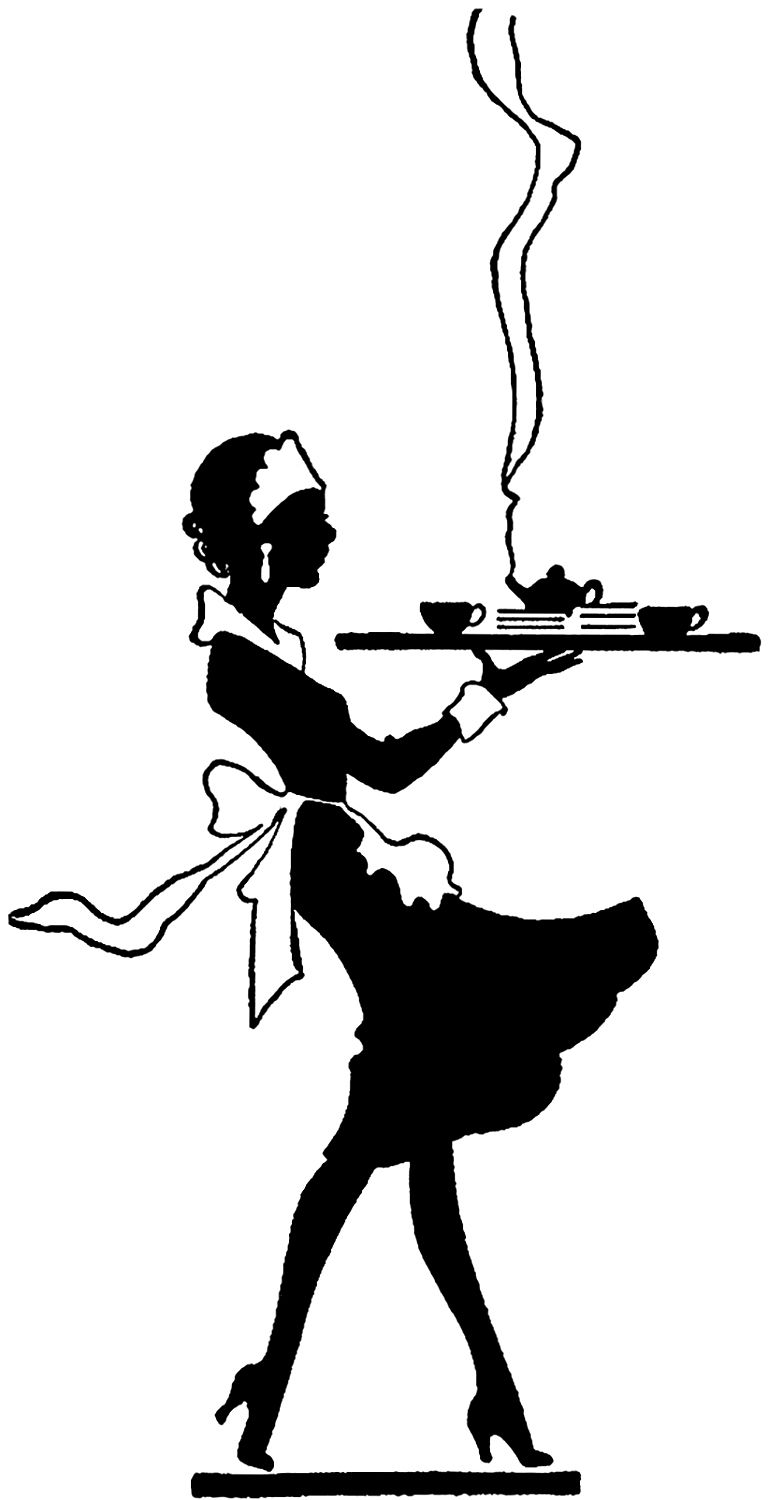 Waitress unifroms in 1940 clipart image black and white stock Vintage Black and White Waitress image | illustration | Black, white ... image black and white stock