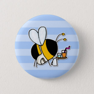 Clipart bee waitress graphic free Waiter Gifts Badges & Pins | Zazzle AU graphic free