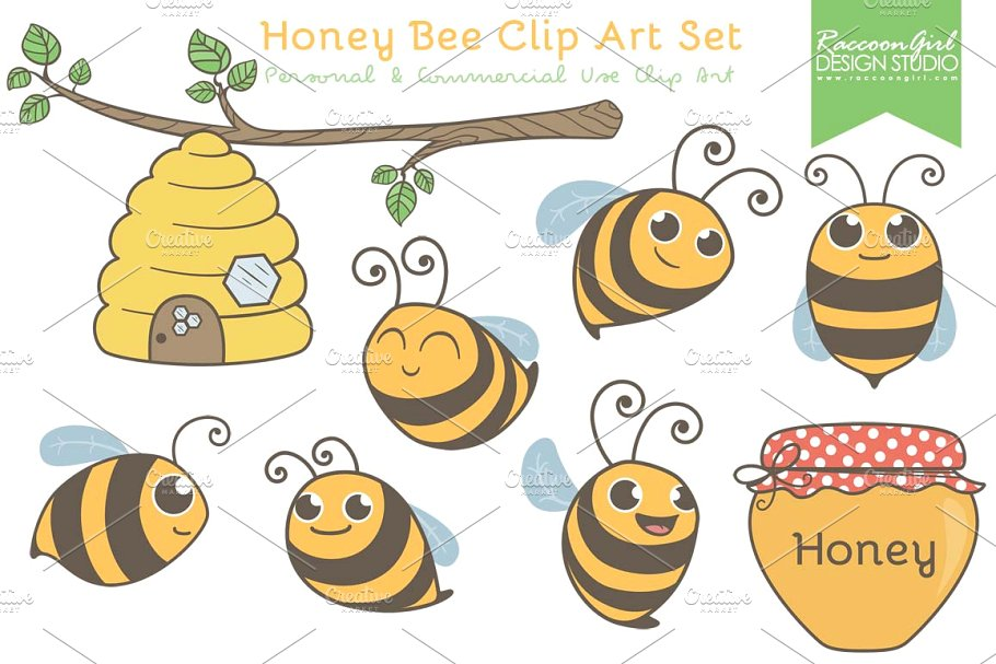 Clipart of bees honey transparent library Honey Bee Clip Art Set transparent library