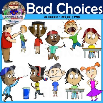 Clipart behavior graphic black and white stock Bad Choices Clip Art (Behavior, Negative, Rules, counseling) graphic black and white stock