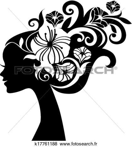 Clipart belle femme. Silhouette fleurs k