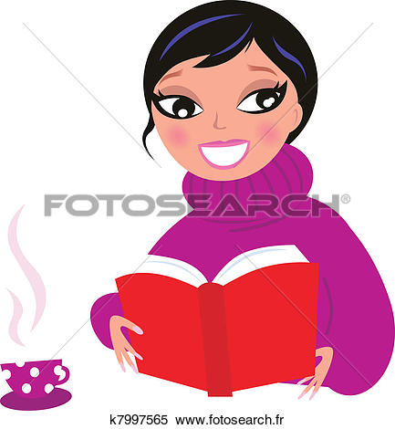 Lecture livre rouge isoler. Clipart belle femme