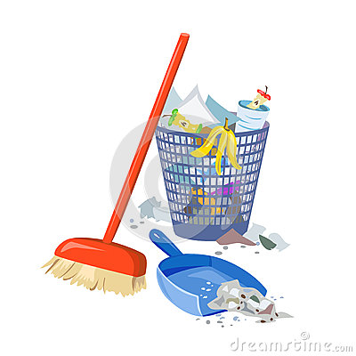 Clipart besen eimer vector free download Garbage Collection, Broom, Shovel, Bucket Stock Vector - Image ... vector free download