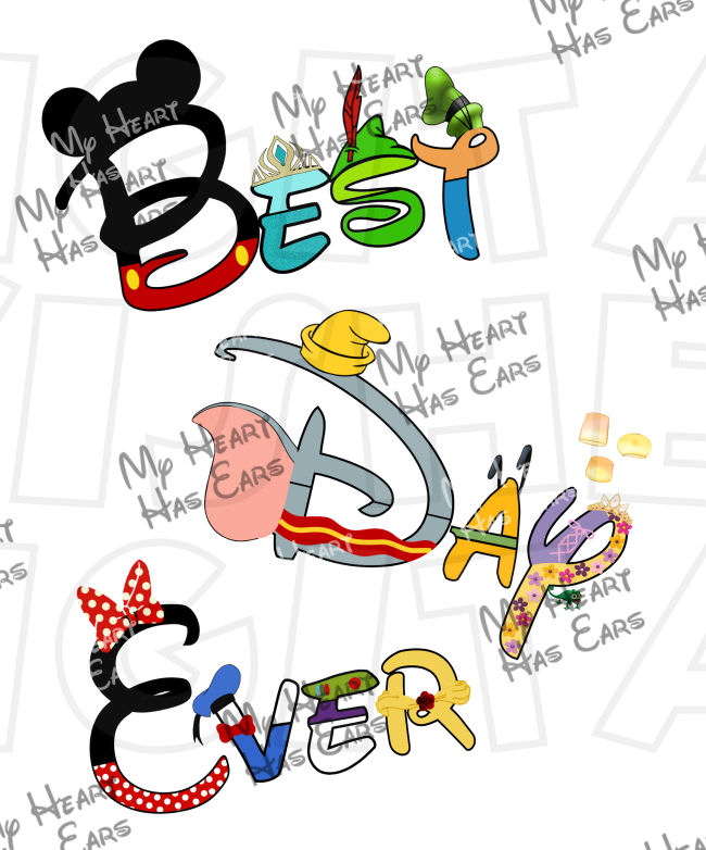 Clipart best day ever png transparent download Best day ever Disney character text INSTANT DOWNLOAD digital clip ... png transparent download