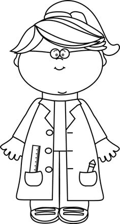 Clipart bible character job black and white graphic library stock Black and White Boy Scientist with a Clipboard | Printables ... graphic library stock