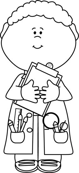 Boy scientist with a. Clipart bible character job black and white