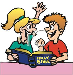 Children reading the clip. Clipart bible for kids