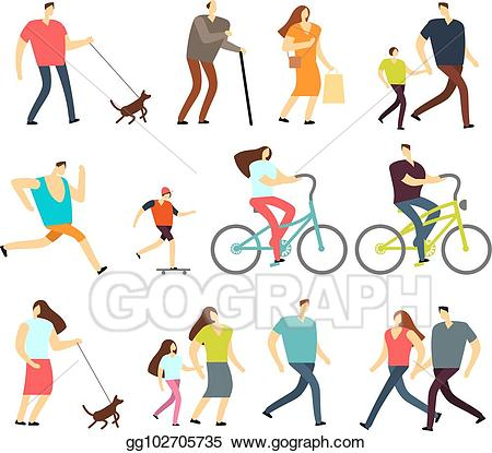 Clipart bike walking clip library stock Vector Art - Active people walking, riding bike, running outdoor ... clip library stock