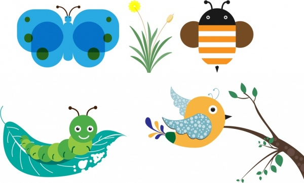 Clipart birds bees butterflies vector library stock Butterfly worm bird bee icons collection cartoon style Free vector ... vector library stock