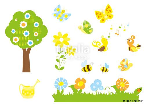 Clipart birds bees butterflies banner set of cute cartoon nature objects : flowers, singing birds, flying ... banner