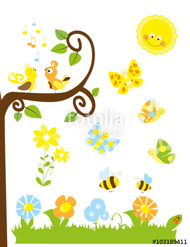 Clipart birds bees butterflies picture library library Set of cute cartoon nature elements : spring / summer collection for ... picture library library