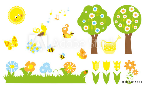 Clipart birds bees butterflies png black and white stock set of cute cartoon nature objects : flowers, singing birds, flying ... png black and white stock