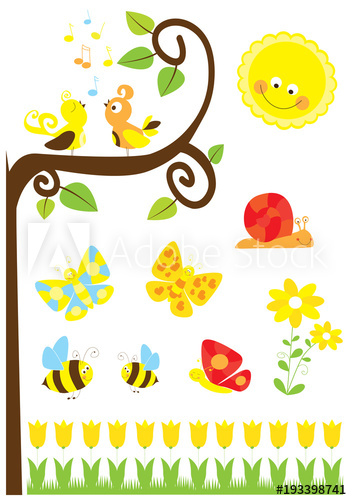 Clipart birds bees butterflies vector freeuse download Set of cute cartoon nature elements : spring collection for children ... vector freeuse download