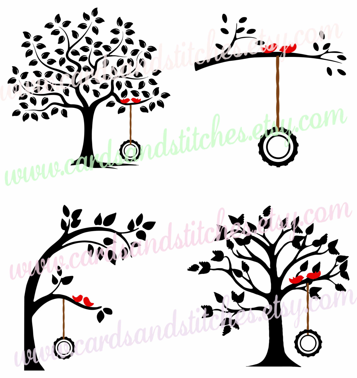 Clipart birds tree svg picture freeuse library Trees SVG - Tire Swing Tree SVG - Digital Cut File - Cricut SVG ... picture freeuse library