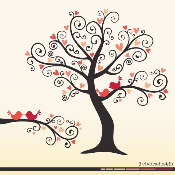 Clipart birds tree svg jpg transparent stock Love Birds on a Love Tree - in Coral Pink - digital clip art ... jpg transparent stock