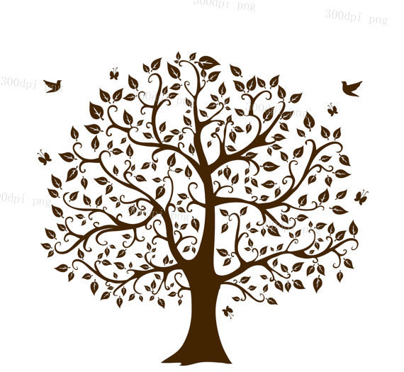 Clipart birds tree svg picture royalty free stock Tree silhouette digital clipart vector eps png files Clip Art picture royalty free stock
