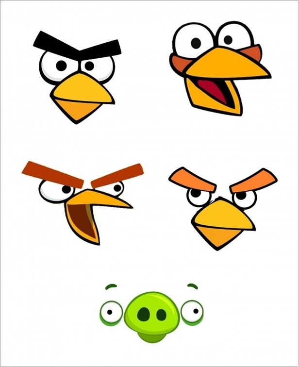 Clipart birdsfaces clip art transparent stock 28 Images of Yellow Angry Bird Template | nategray.net clip art transparent stock