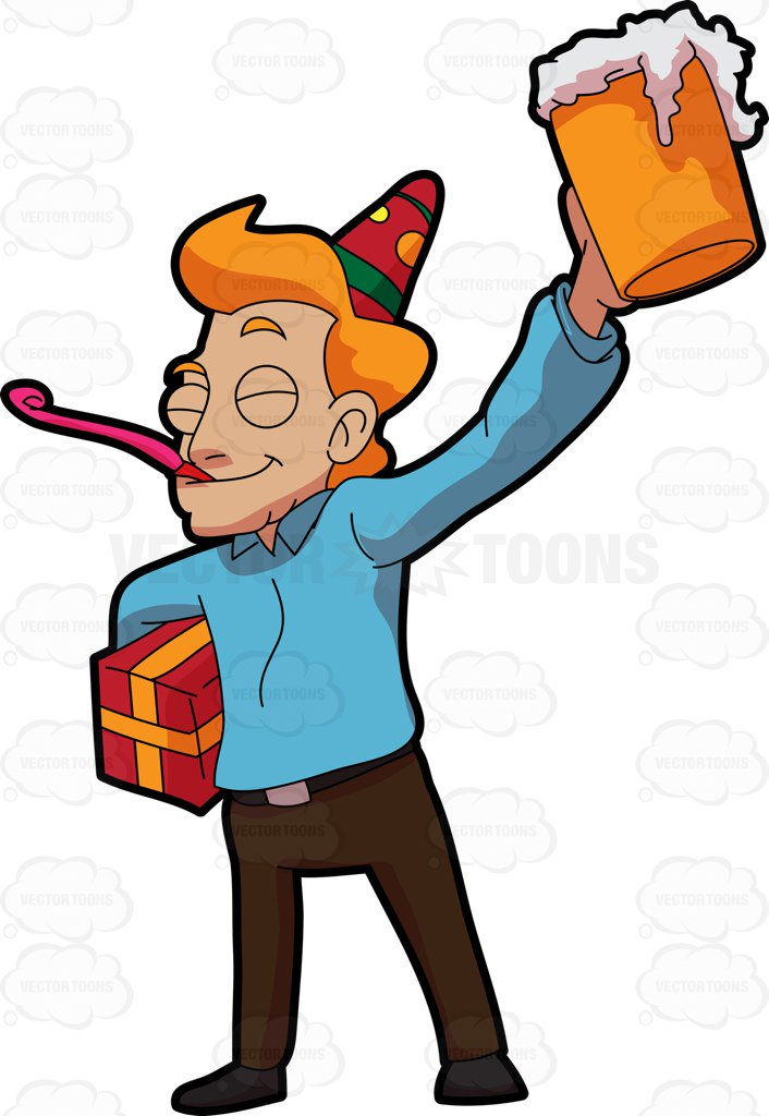 Clipart birthday for men image free A Happy Man Celebrating A Birthday Party Cartoon Clipart - Free Clipart image free