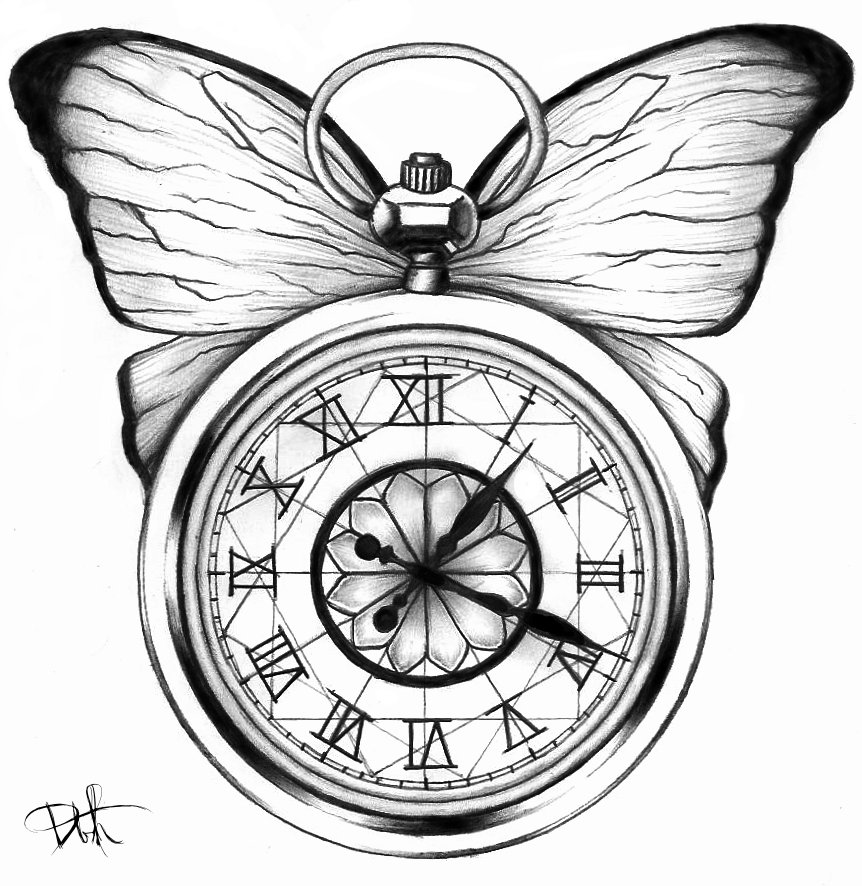 Clipart black and white a hole in the pocket graphic transparent Cool black-and-white butterfly tattoo design with a poket clock by ... graphic transparent