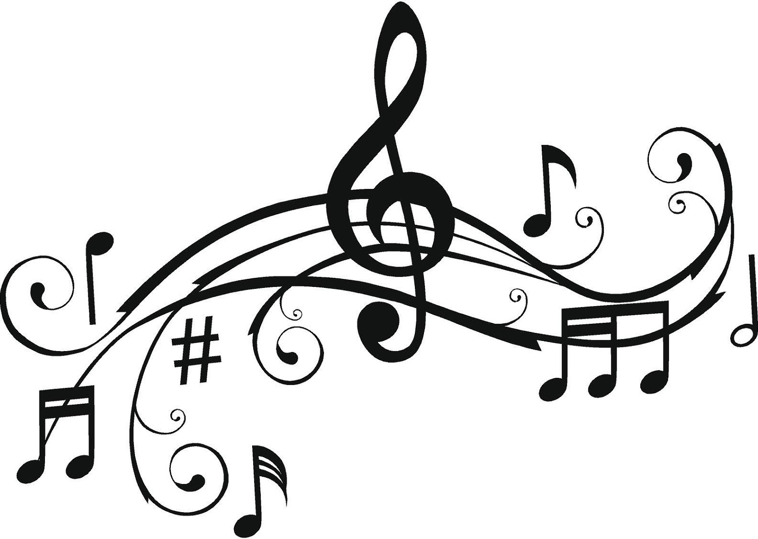 Free music clipart. Notes black and white