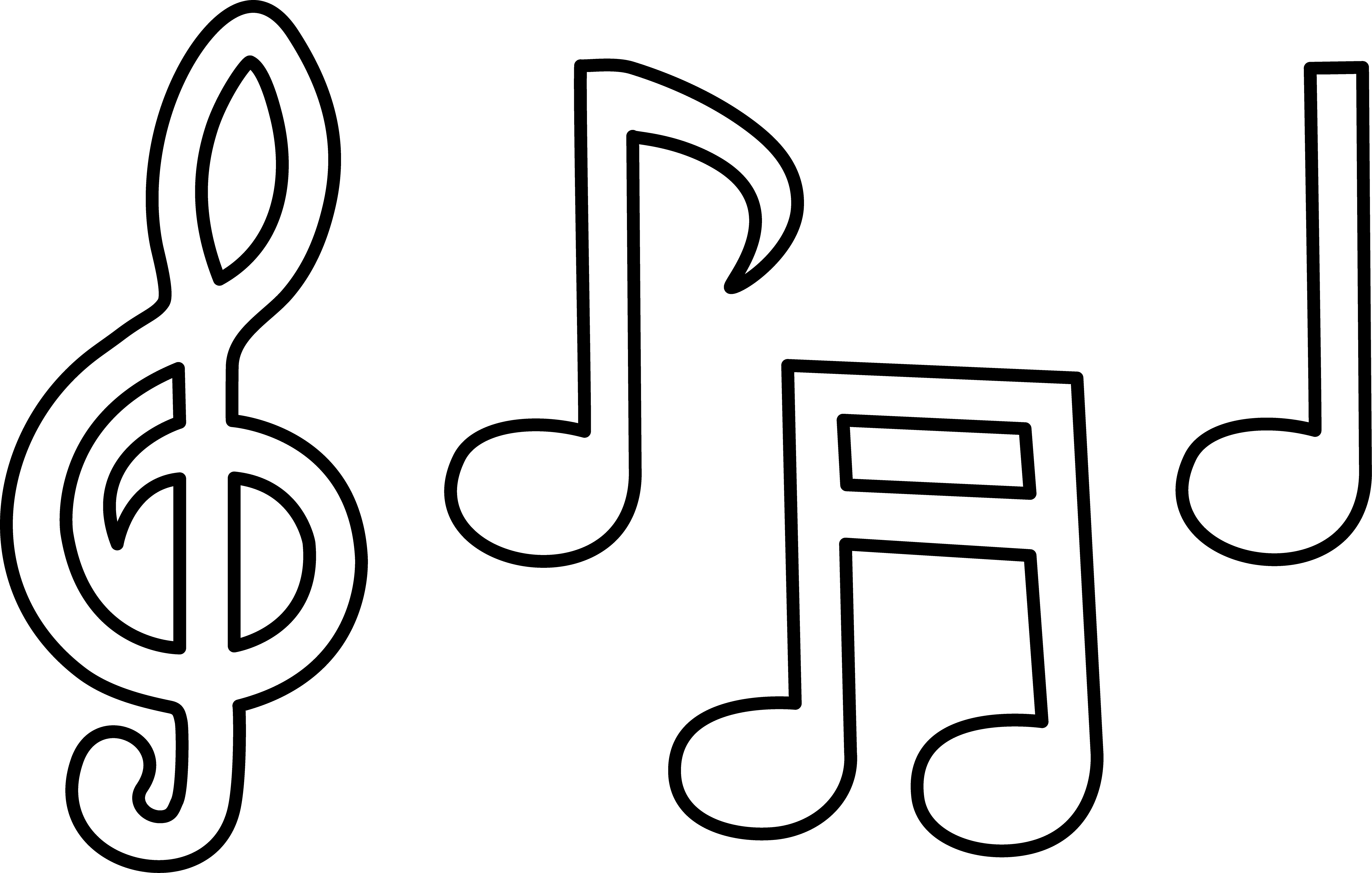 Free black and white clipart of music notes. Note download clip art