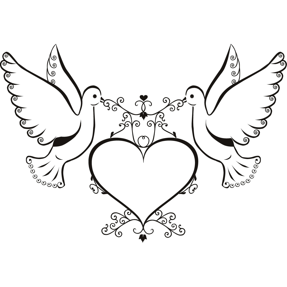 Clipart black and white animals forming hearts clipart royalty free library Free Pictures Of Two Doves, Download Free Clip Art, Free Clip Art on ... clipart royalty free library