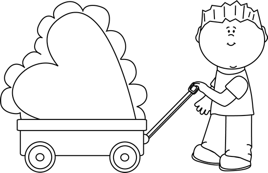 Clipart black and white boy pulling a wagon clipart free download Black and White Boy Pulling Valentine in a Wagon Clip Art - Black ... clipart free download