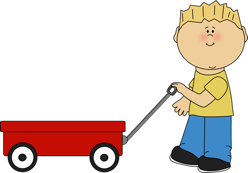 Clipart black and white boy pulling a wagon
