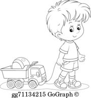 Clipart black and white boy pulling a wagon vector freeuse Pulling Clip Art - Royalty Free - GoGraph vector freeuse
