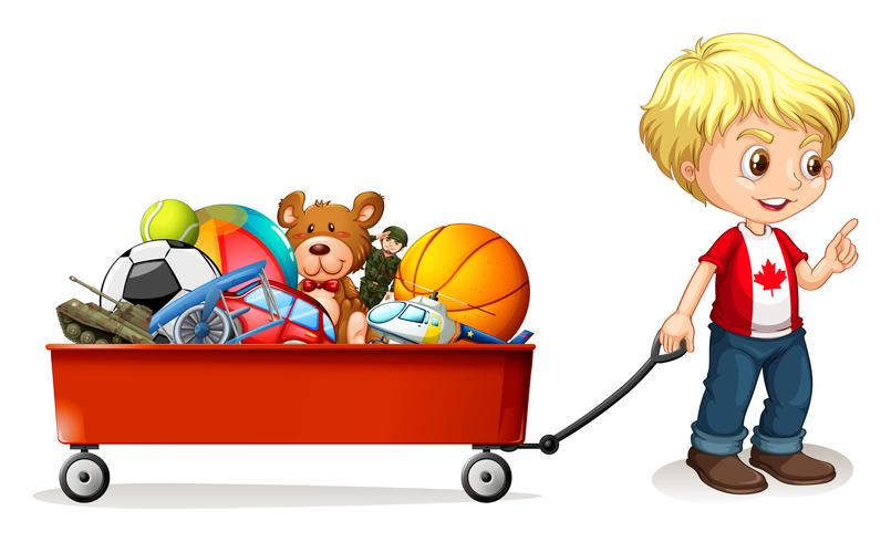 Clipart black and white boy pulling a wagon black and white library Boy pulling cart full of toys Vector - Download Free Vector Art ... black and white library