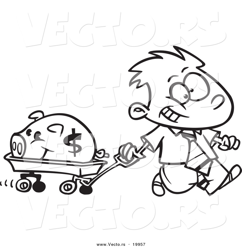 Clipart black and white boy pulling a wagon graphic freeuse library Vector of a Cartoon Rich Boy Pulling His Piggy Bank in a Wagon ... graphic freeuse library