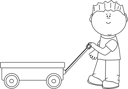Clipart black and white boy pulling a wagon jpg royalty free Black and White Boy Pulling a Wagon Clip Art - Black and White Boy ... jpg royalty free