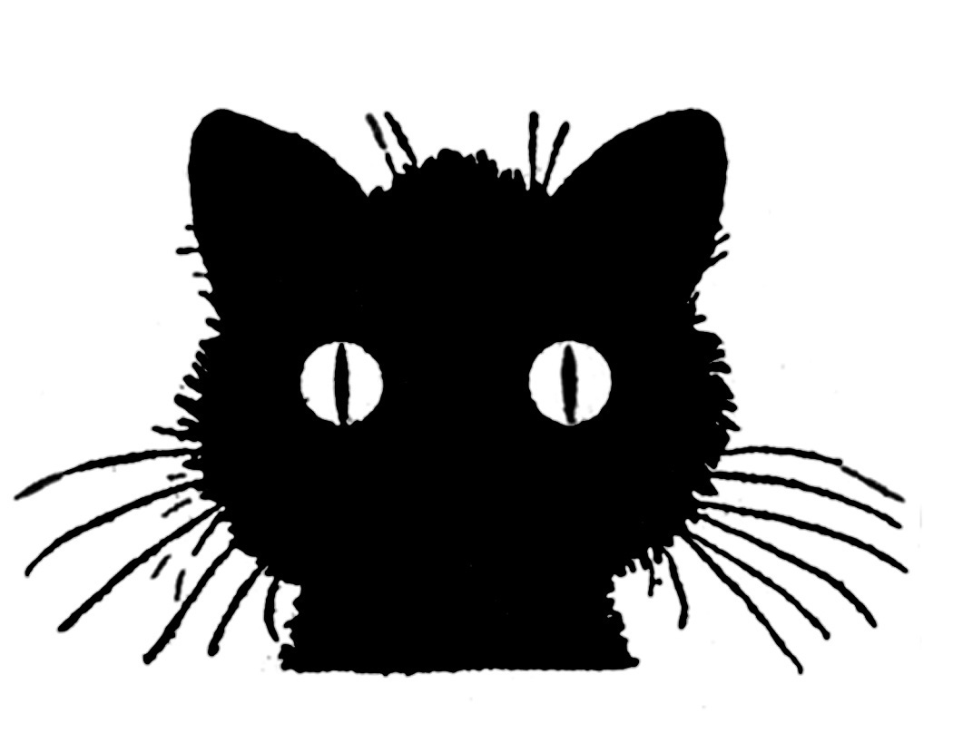 Clipart black and white cat looking through fence vector transparent download 14 Black Cat Clipart - Halloween! - The Graphics Fairy vector transparent download