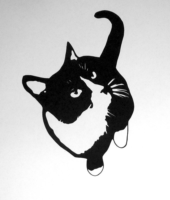 Clipart black and white cat looking through fence jpg free Cat Silhouette Art - Black and White Cat Art, Tuxedo Cat Art, Cat ... jpg free
