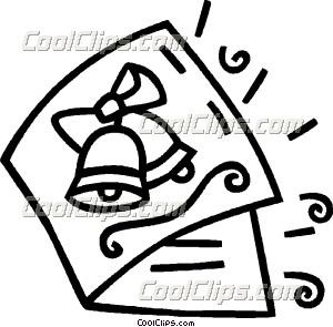 Clipart black and white christmas card clip art transparent download Christmas card with bells on it Clip Art clip art transparent download