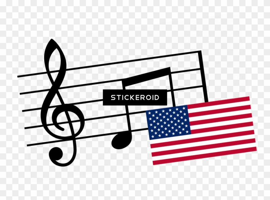 Clipart black and white flag music notes banner royalty free library Musical Notes And Flag Usa - Musical Notes Clipart (#1704014 ... banner royalty free library