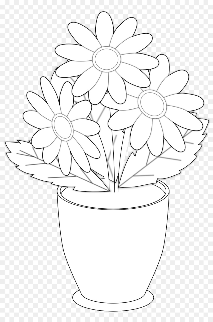 Clipart black and white flowers in a vase vector transparent Black And White Flower png download - 999*1491 - Free Transparent ... vector transparent