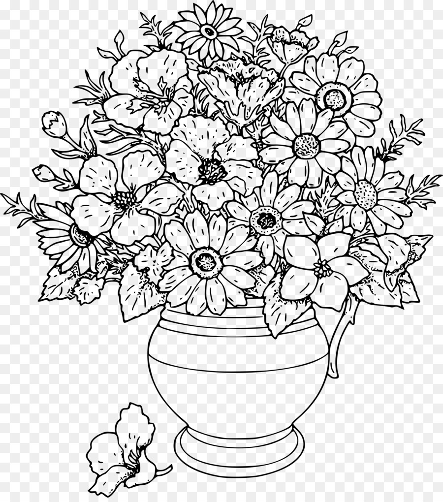 Clipart black and white flowers in a vase jpg royalty free library Black And White Flower clipart - Drawing, Sketch, Pencil ... jpg royalty free library