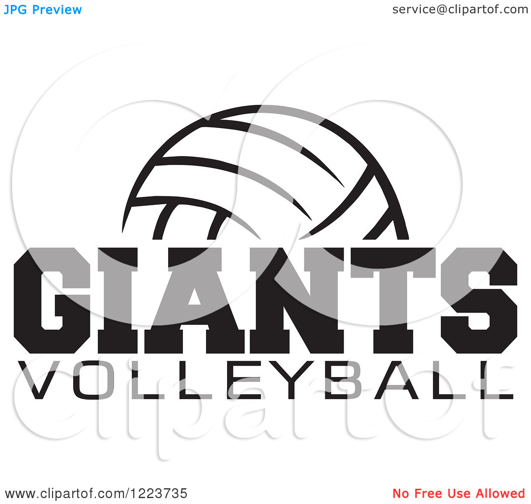 Clipart black and white giants logo clipart free stock Clipart of a Black and White Ball with GIANTS VOLLEYBALL Text ... clipart free stock