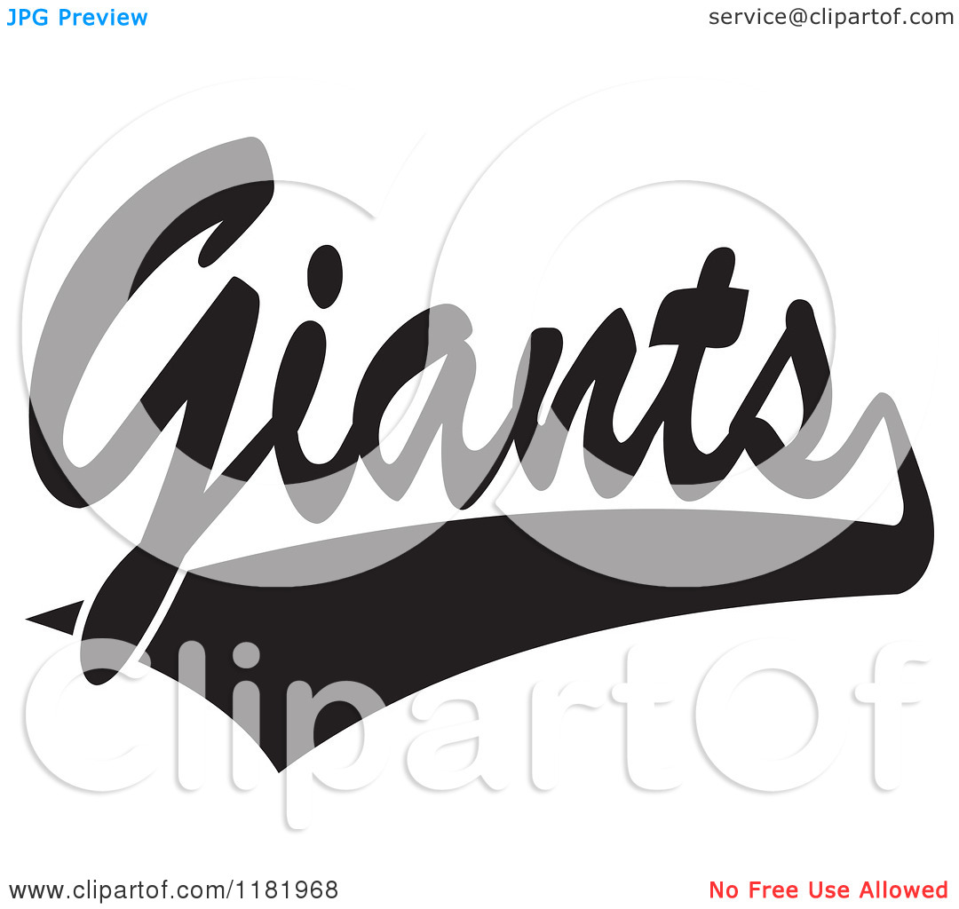 Clipart black and white giants logo graphic free stock Clipart of a Black and White Tailsweep and Giants Sports Team Text ... graphic free stock