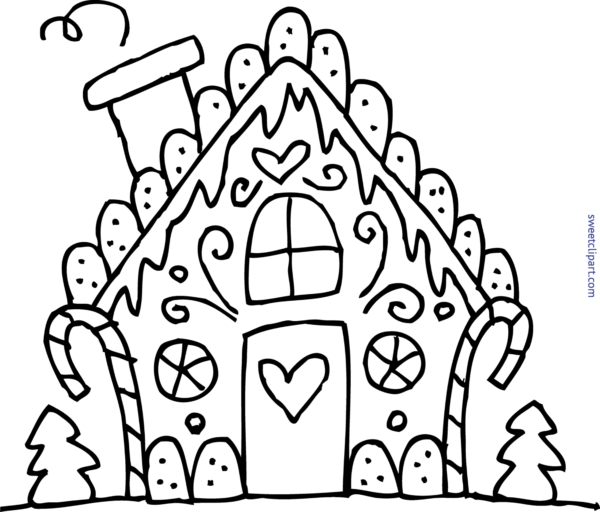 Clipart black and white gingerbread house transparent All Clip Art Archives - Page 25 of 62 - Sweet Clip Art transparent