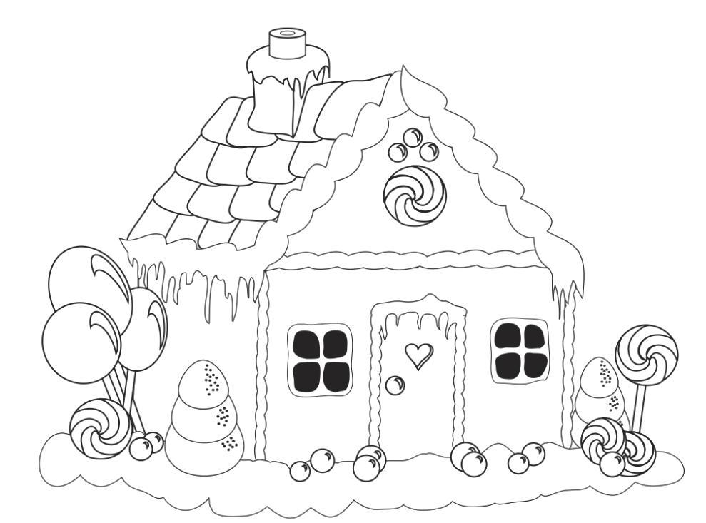 Clipart black and white gingerbread house free stock Gingerbread House Lollipop Coloring Pages - Gingerbread Coloring ... free stock