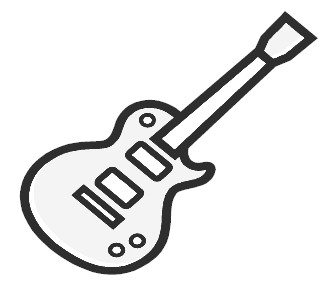 Free electric guitar black and white clipart