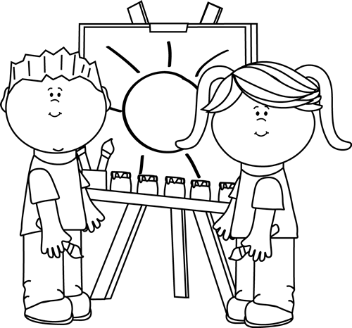 Teacher black and white clipart printable graphic free stock Black and White Black and White Kids Painting on Easel | askartelu ... graphic free stock