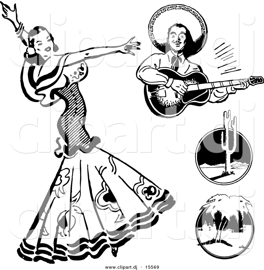 Clipart black and white mexico culture vector library Mexican Culture Clipart Black And White vector library