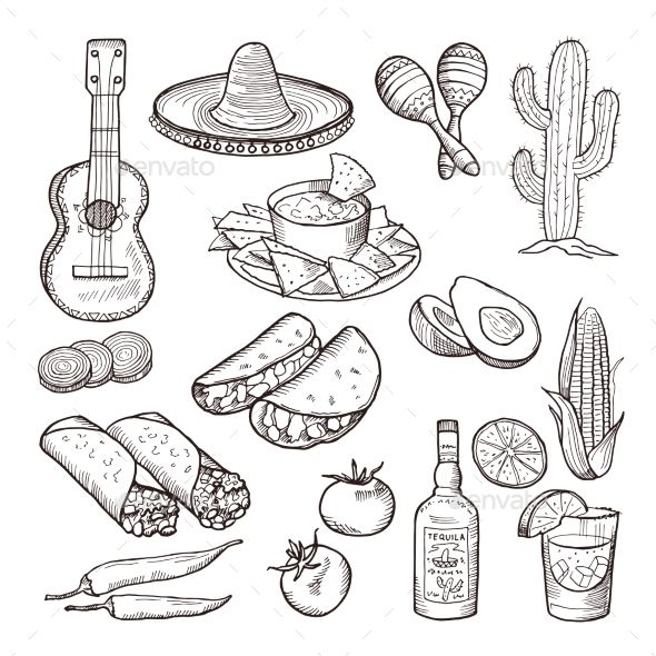 Clipart black and white mexico culture clip royalty free Mexican Culture Elements | Food Vectors Creative in 2019 | Mexican ... clip royalty free