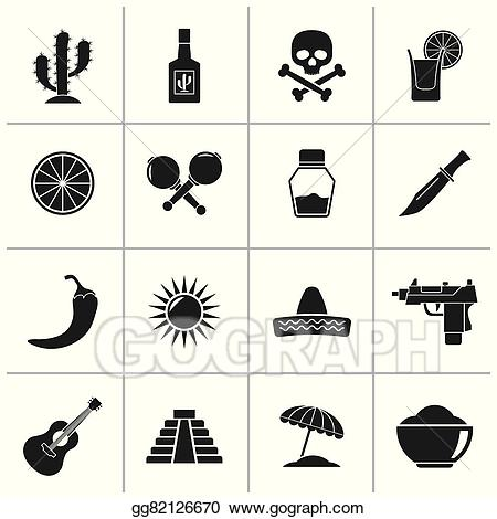 Clipart black and white mexico culture graphic free Vector Art - Mexico and mexican culture icons. Clipart Drawing ... graphic free