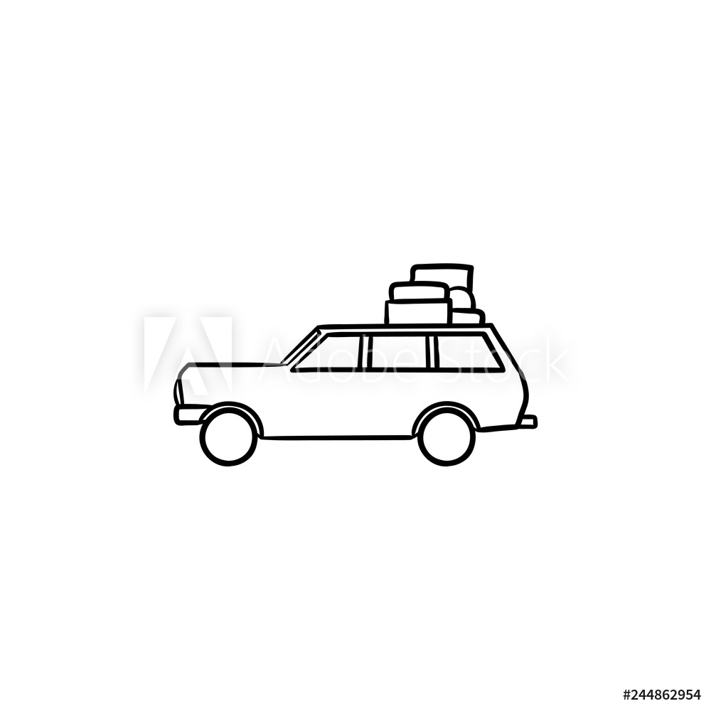Clipart black and white mini van with cargo carrier