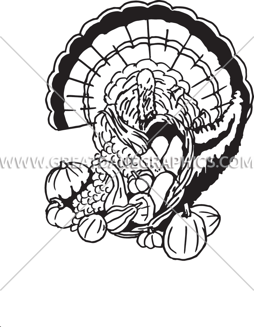Turkey without feathers clipart black and white banner black and white stock Turkey & Cornucopia   Production Ready Artwork for T-Shirt Printing banner black and white stock